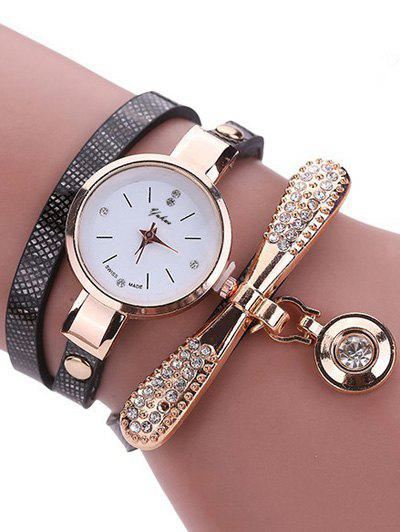 PU Leather Rhinestone Wristband Bracelet Watch, Black