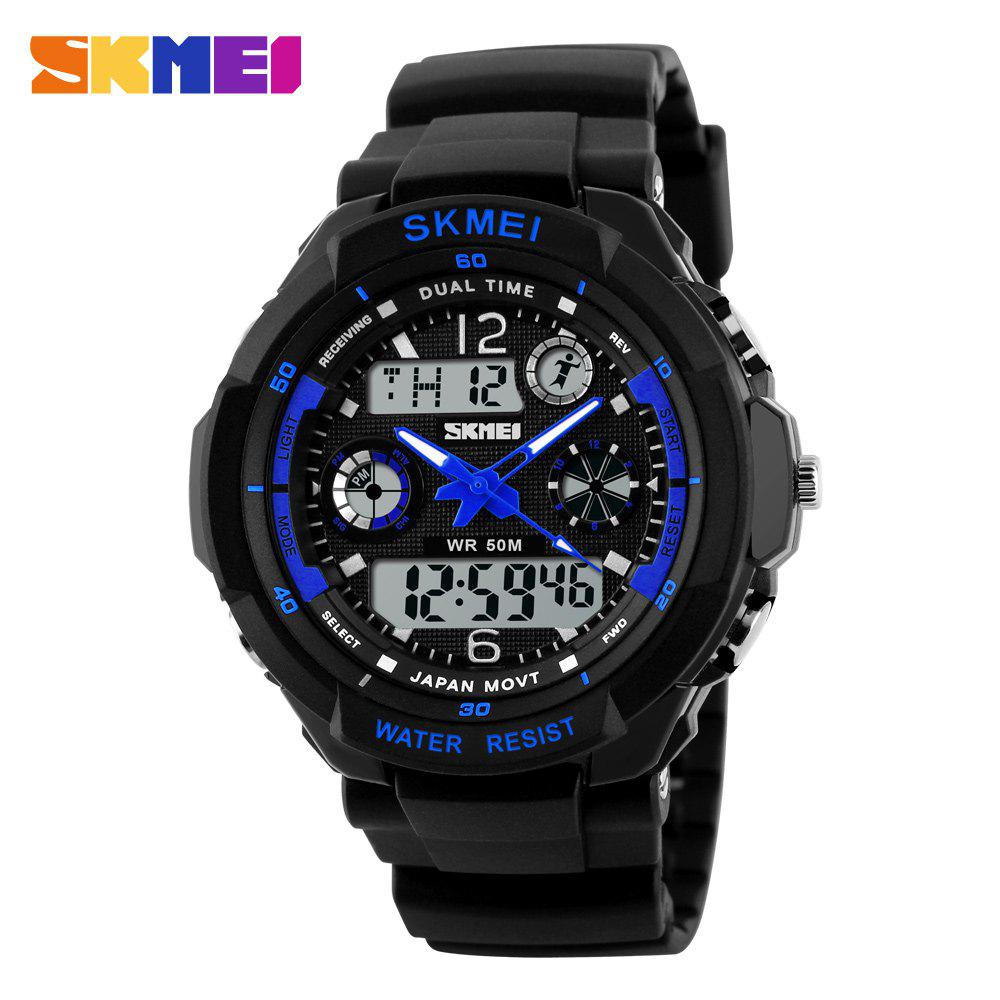 Skmei 0931 Green LED Military Watch with 2 Time Zone Chronograph Double Movts and Round Dial - BLUE L