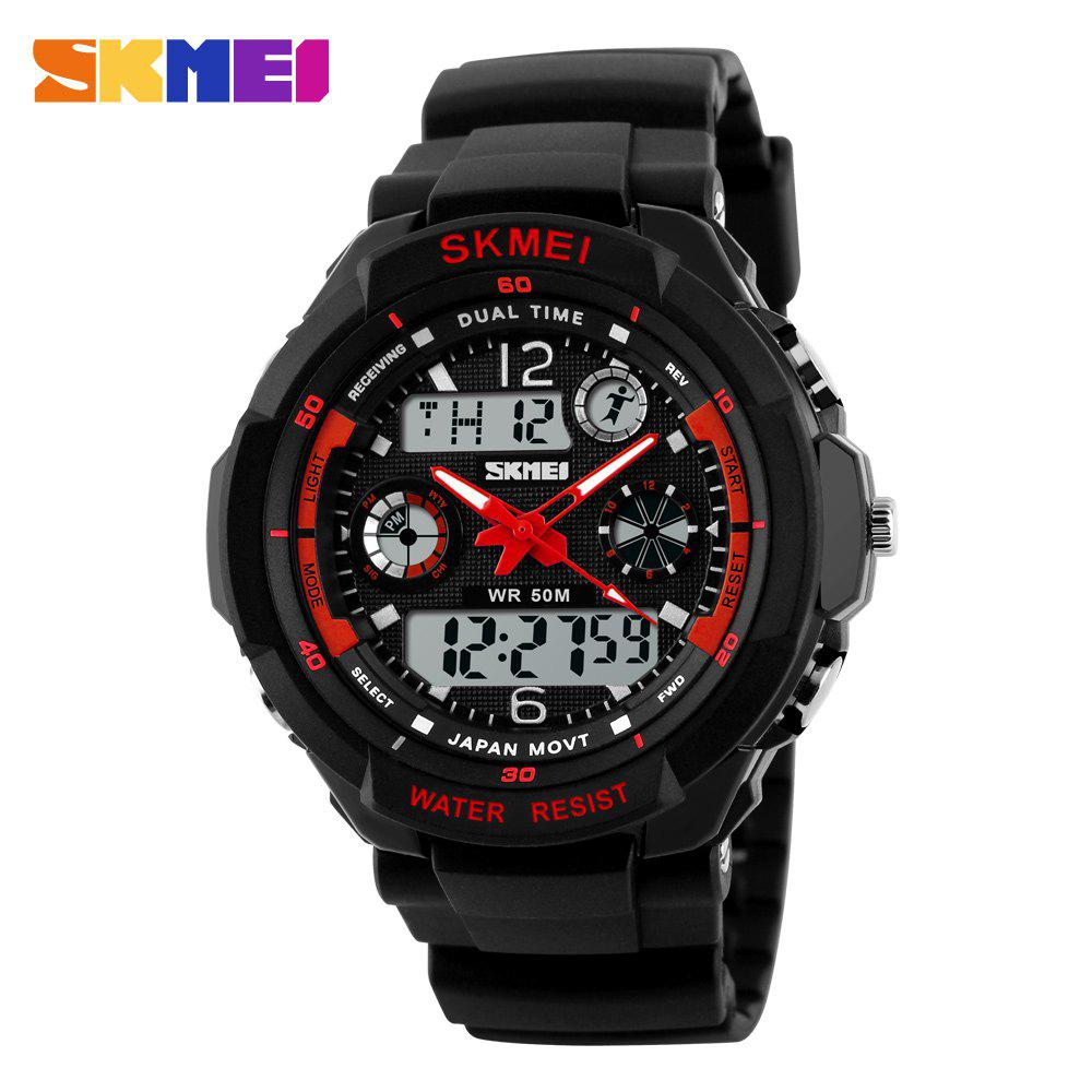Skmei 0931 Green LED Military Watch with 2 Time Zone Chronograph Double Movts and Round Dial - RED L