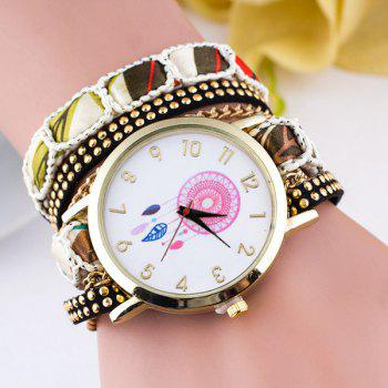 Floral Feather Wrap Bracelet Quartz Watch