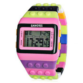 SHHORS SH - 715 Colorful Building Blocks Silicone Strap LED Watch