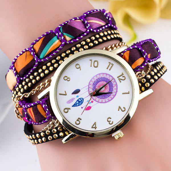 Feather Circle Dial Plate Bracelet WatchWatches<br><br><br>Color: PURPLE