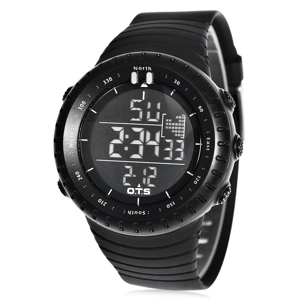 OTS T7005G Male Sports LED Watch Stopwatch Alarm Wristwatch, Black