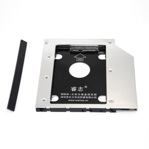 Reamax Iron Man HDD Caddy Tray SATA 3.0 Case Work with 9.5mm Notebook - SILVER