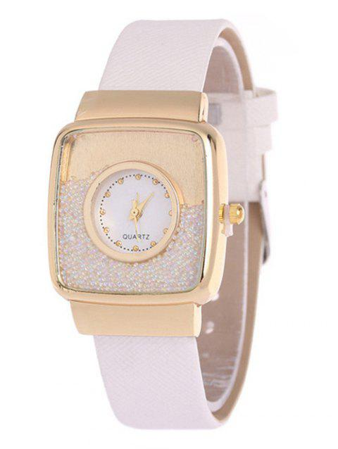 Faux Leather Drift Sand Watch - WHITE