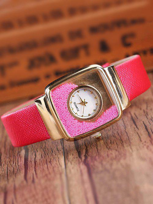 Faux Leather Drift Sand Watch - RED