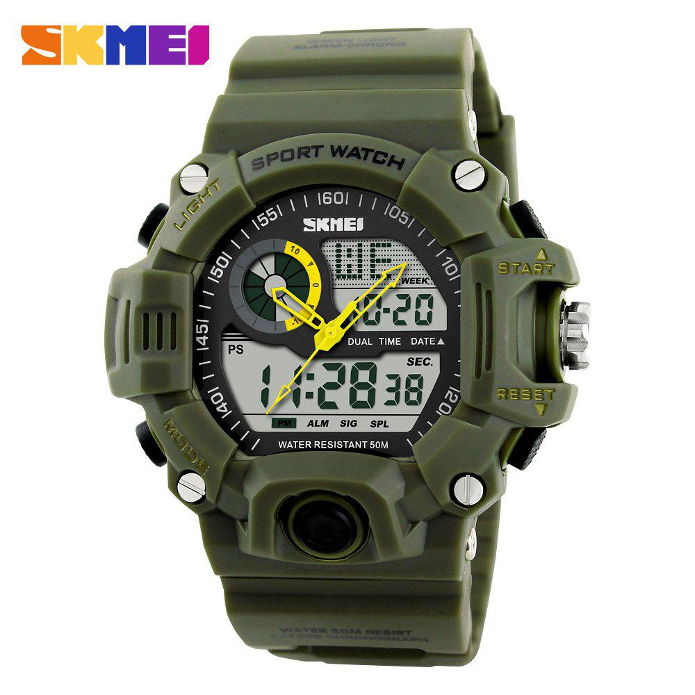 Skmei 1029 Army LED Dual-movt Wristwatch Week Date Stopwatch 5ATM Water Resistant Military Watch for Sports - ARMY GREEN