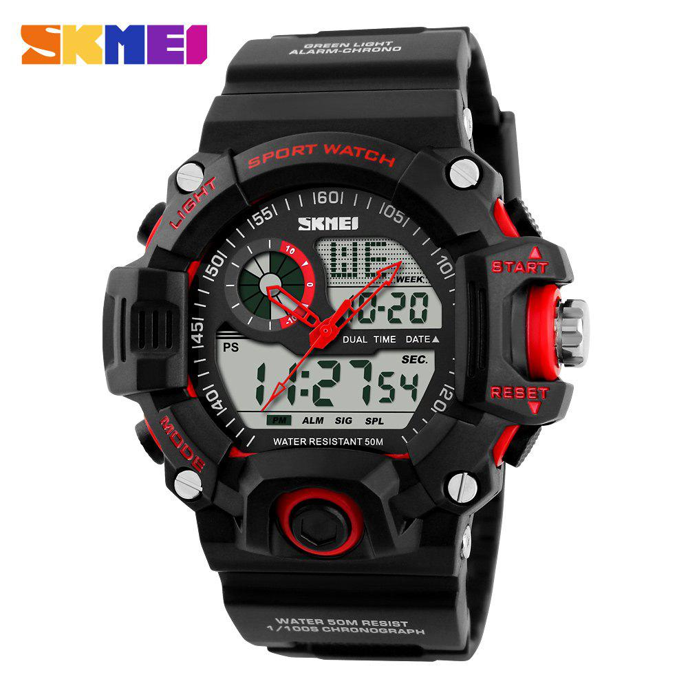 Skmei 1029 Army LED Dual-movt Wristwatch Week Date Stopwatch 5ATM Water Resistant Military Watch for Sports skmei 1064 solar power army led watch date day alarm dual movt water resistant military wristwatch for sports