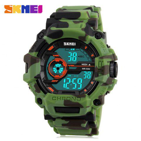 SKMEI 1233 EL Backlight Alarm Sports Watch with 50M Waterproof for Men - ARMY GREEN CAMOUFLAGE