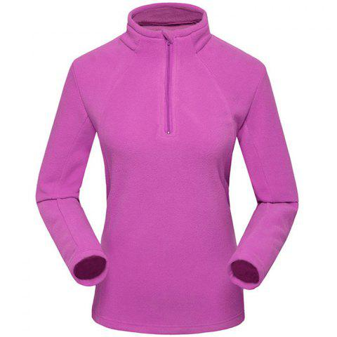 Umove Outdoor Polar Fleece Sweatshirt Warm Soft Anti-pilling for Autumn Winter - PURPLE WOMAN XL
