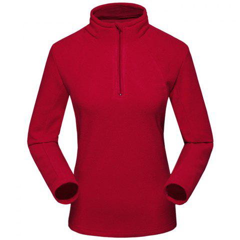 Umove Outdoor Polar Fleece Sweatshirt Warm Soft Anti-pilling for Autumn Winter - RED WOMAN XL