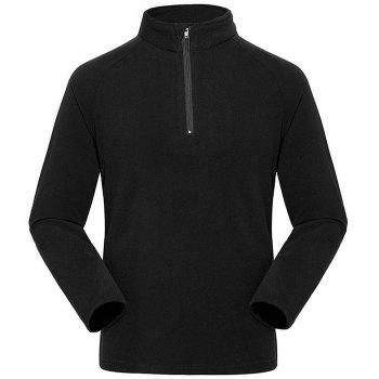 Umove Outdoor Polar Fleece Sweatshirt Warm Soft Anti-pilling for Autumn Winter - BLACK - MAN BLACK MAN