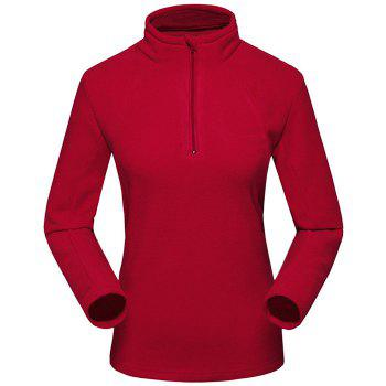 Umove Outdoor Polar Fleece Sweatshirt Warm Soft Anti-pilling for Autumn Winter - RED - WOMAN RED WOMAN