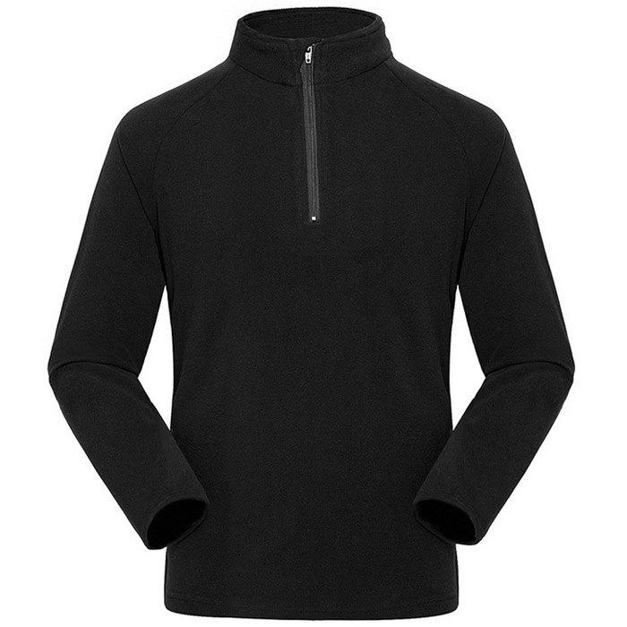 Umove Outdoor Polar Fleece Sweatshirt Warm Soft Anti-pilling for Autumn Winter - BLACK MAN XL