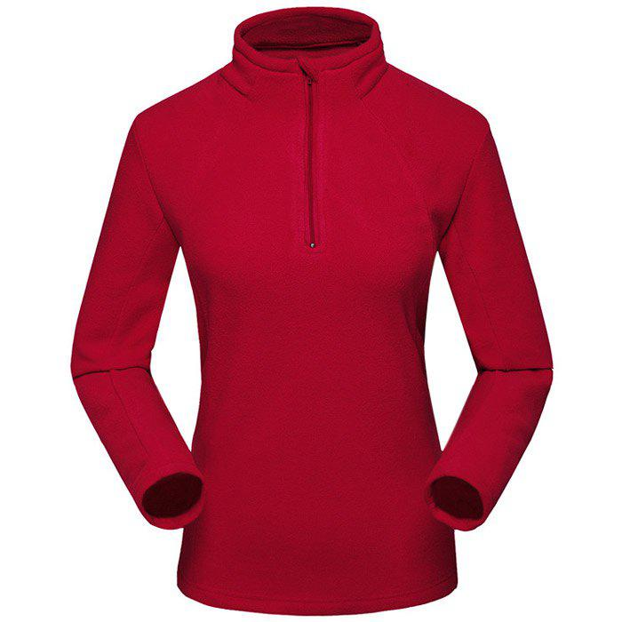 Umove Outdoor Polar Fleece Sweatshirt Warm Soft Anti-pilling for Autumn Winter - RED WOMAN L
