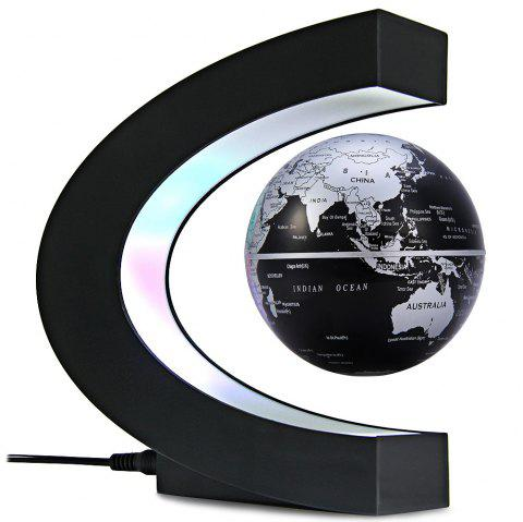 Creative C Shape Magnetic Levitation Floating Globe World Map with Colorful LED Light for Desk Decoration - BLACK