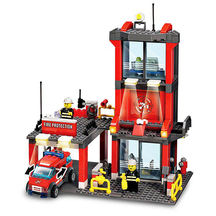 300pcs ABS Mini Fire Station Building Block Model DIY Birthday Gift for Kids 8052 kazi 300pcs fire station building bricks blocks sets christmas toys for children compatible lepine city firefighter rescue