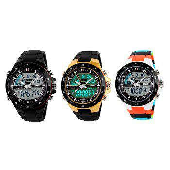 Skmei 1016 Water Resistance  LED Watch with Double Movt Day Date Function - GOLDEN