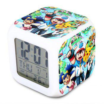 Cartoon Pattern Digital Alarm Clock 7 Color Change LED Glowing Gift
