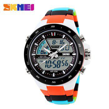 Skmei 1016 Water Resistance  LED Watch with Double Movt Day Date Function - WHITE WHITE