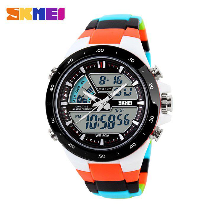 Skmei 1016 Water Resistance  LED Watch with Double Movt Day Date Function - WHITE