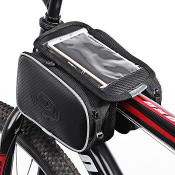 Roswheel 12813 Water Resistant 1.8L Cycling Bike Bicycle Front Frame Bag Tube Pannier Double Pouches 5.5 Inches Mobile Phone
