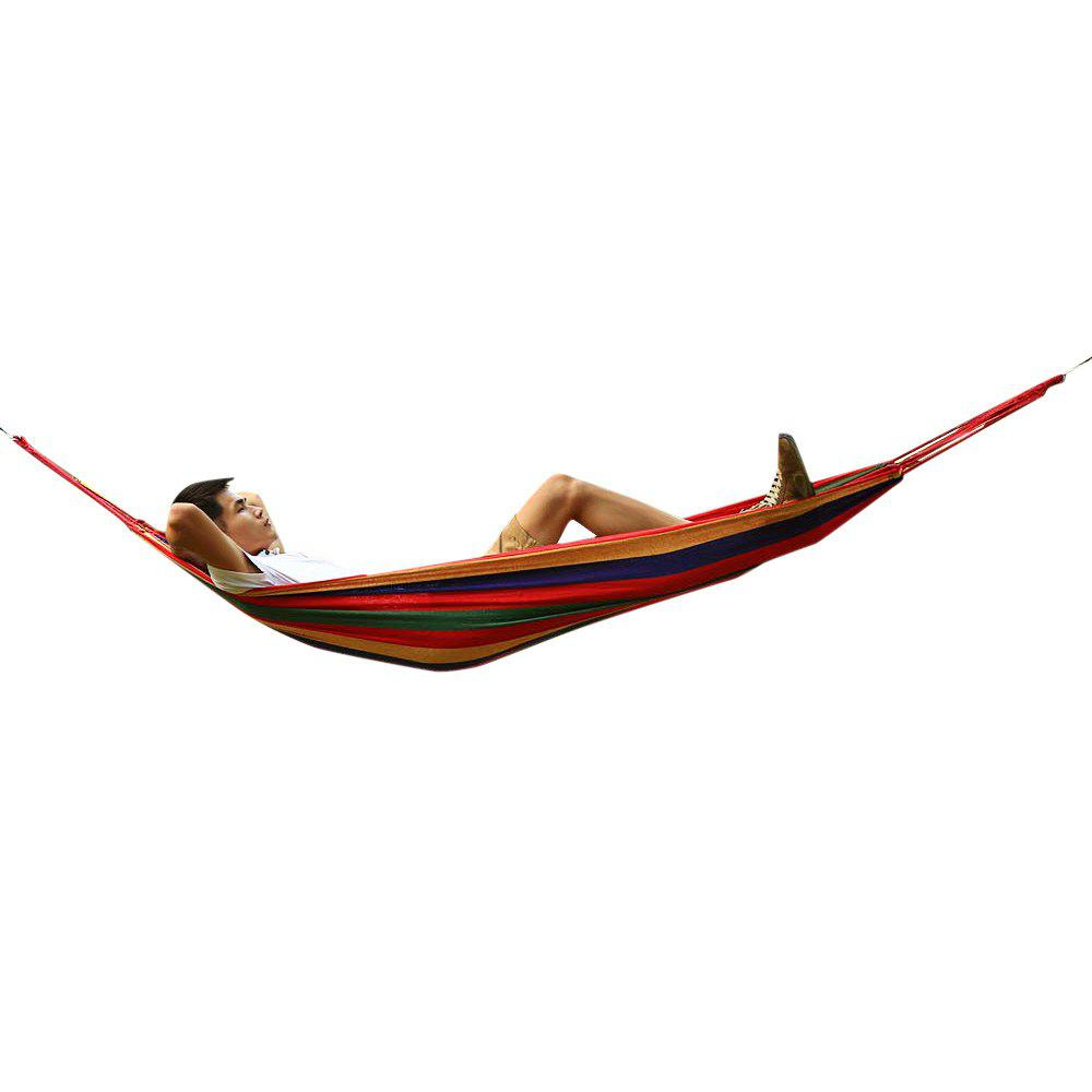 150kg Weight Load High Strength Canvas Material Hammock Camping Yard Hanging Bed with Carrying Bag for Ooutdoor Activities - Random Color Sent - COLORMIX