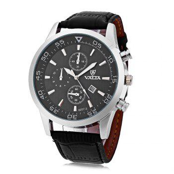 Valia 8257-2 Men Quartz Watch Date Decorative Sub-dials Round Dial Leather Band - BLACK BLACK
