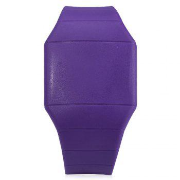 Rubber Touch Screen Sport Watches with Red Display Time Rectangle Shape - PURPLE