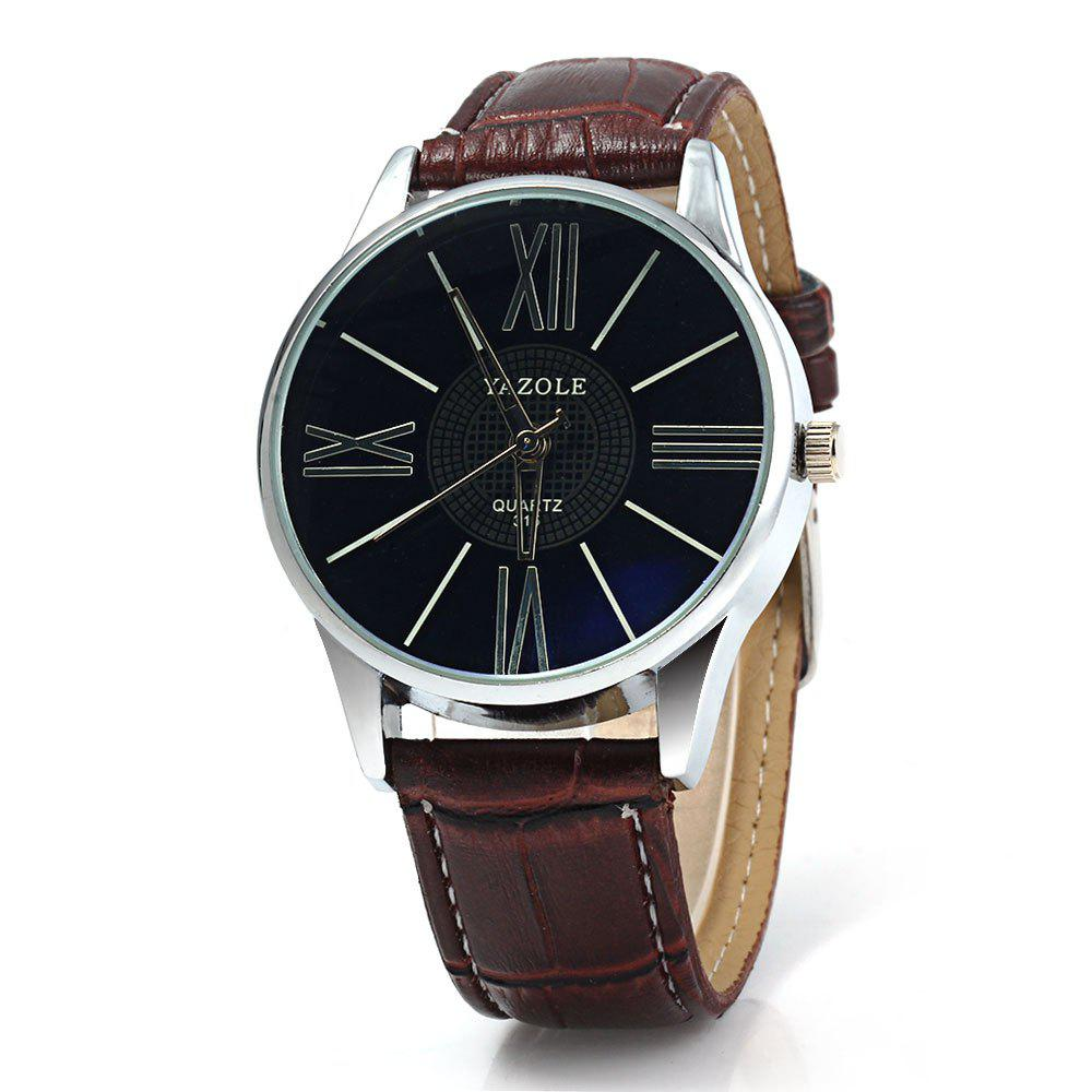 Yazole 315 Quartz Watch with Leather Band for Men - BLACK BROWN