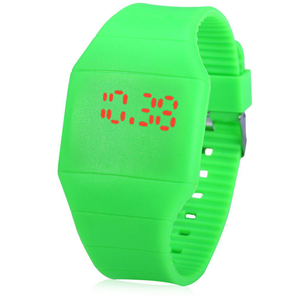 Rubber Touch Screen Sport Watches with Red Display Time Rectangle Shape