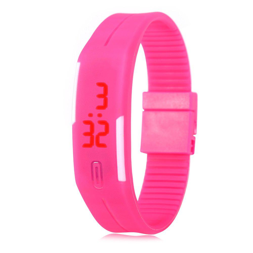 LED Watch Red Subtitles Date Rubber Strap Rectangle Dial - PINK
