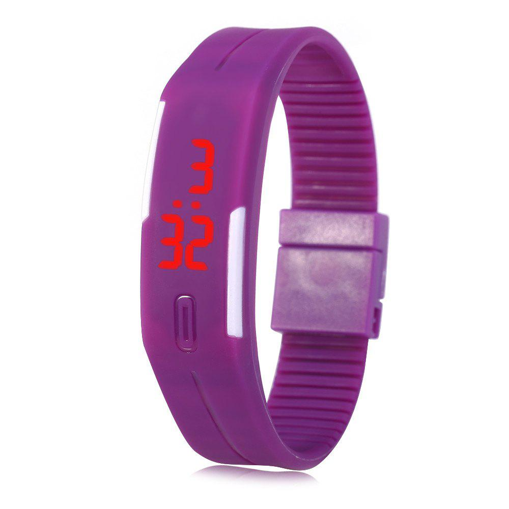 LED Watch Red Subtitles Date Rubber Strap Rectangle Dial - PURPLE