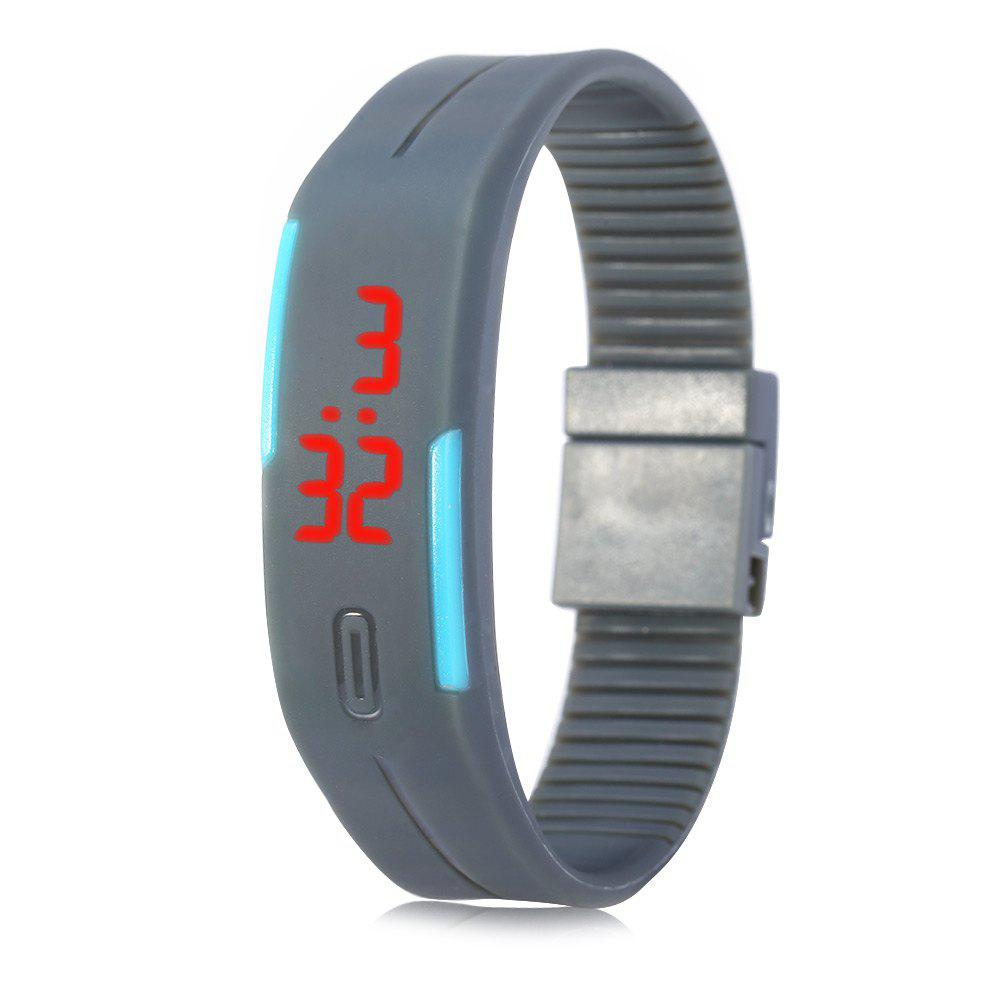 LED Watch Red Subtitles Date Rubber Strap Rectangle Dial - OLIVE GREEN