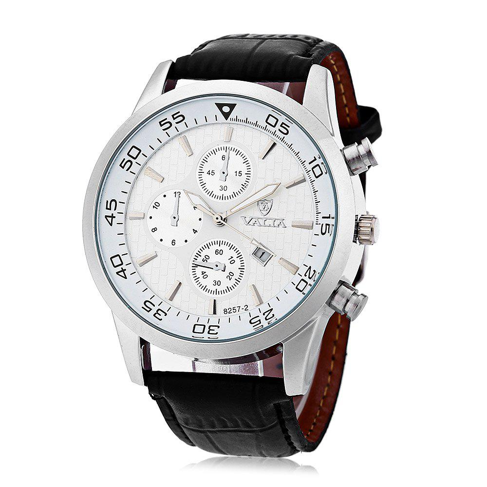 Valia 8257-2 Men Quartz Watch Date Decorative Sub-dials Round Dial Leather Band - WHITE