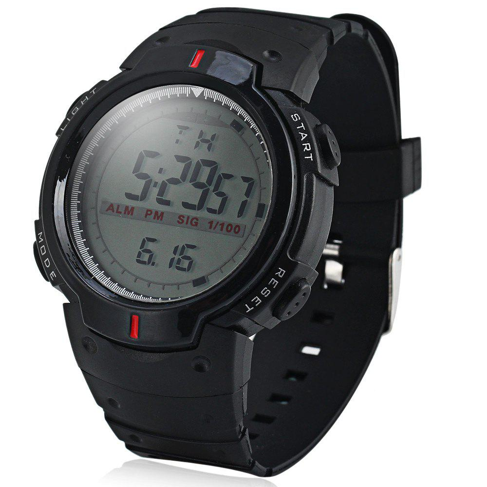 9040 Military LED Sports Watch Month Day Week Light Alarm - BLACK
