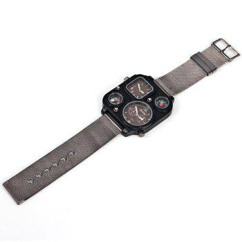 Oulm 1169 Quartz Watch with Double Movt Steel Watchband for Men -  COFFEE
