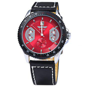 Mechanical Luxury Watch with Calendar Round Dial and Leather Watchband for Men - RED