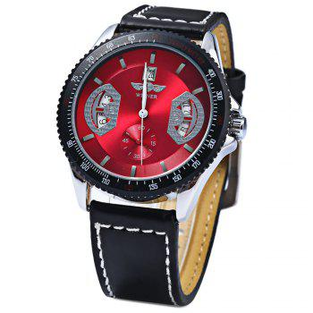 Mechanical Luxury Watch with Calendar Round Dial and Leather Watchband for Men - RED RED