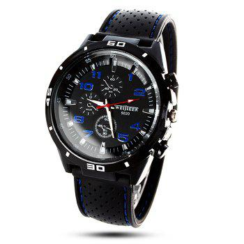 Weijieer 5020 Male Quartz Watch Round Dial Rubber Strap Non-functioning Sub-dials - BLUE BLUE