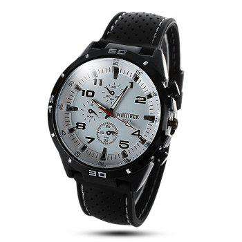 Buy Weijieer 5020 Male Quartz Watch Round Dial Rubber Strap Non-functioning Sub-dials WHITE