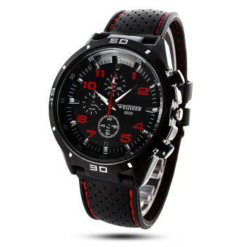 Buy Weijieer 5020 Male Quartz Watch Round Dial Rubber Strap Non-functioning Sub-dials RED