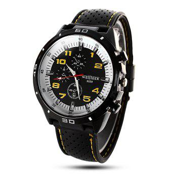 Weijieer 5020 Male Quartz Watch Round Dial Rubber Strap Non-functioning Sub-dials - YELLOW YELLOW