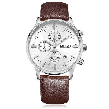 MEGIR 2011 Male Japan Quartz Watch Date Display Genuine Leather Band 30M Water Resistance - BROWN SILVER WHITE BROWN SILVER WHITE