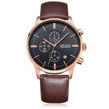 MEGIR 2011 Male Japan Quartz Watch Date Display Genuine Leather Band 30M Water Resistance - BROWN GOLD BLACK BROWN GOLD BLACK