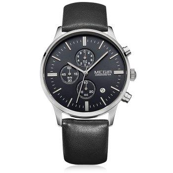 MEGIR 2011 Male Japan Quartz Watch Date Display Genuine Leather Band 30M Water Resistance - BLACK SILVER BLACK BLACK SILVER BLACK