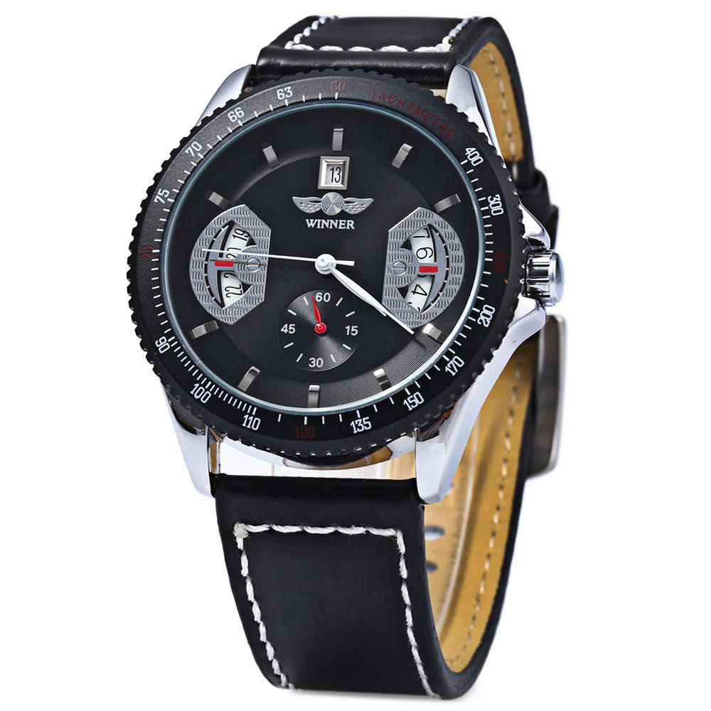 Mechanical Luxury Watch with Calendar Round Dial and Leather Watchband for Men - BLACK