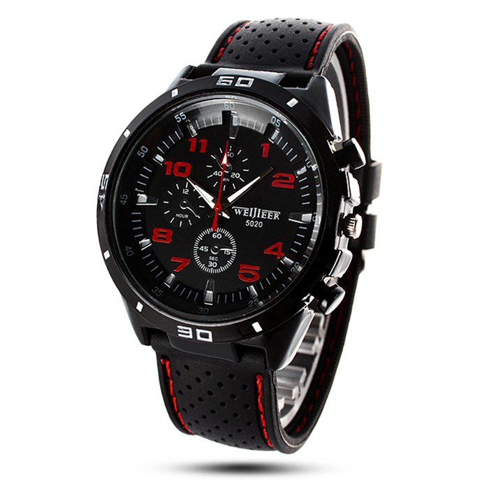 Weijieer 5020 Male Quartz Watch Round Dial Rubber Strap Non-functioning Sub-dials digu working sub dial male quartz business watch leather band round dial