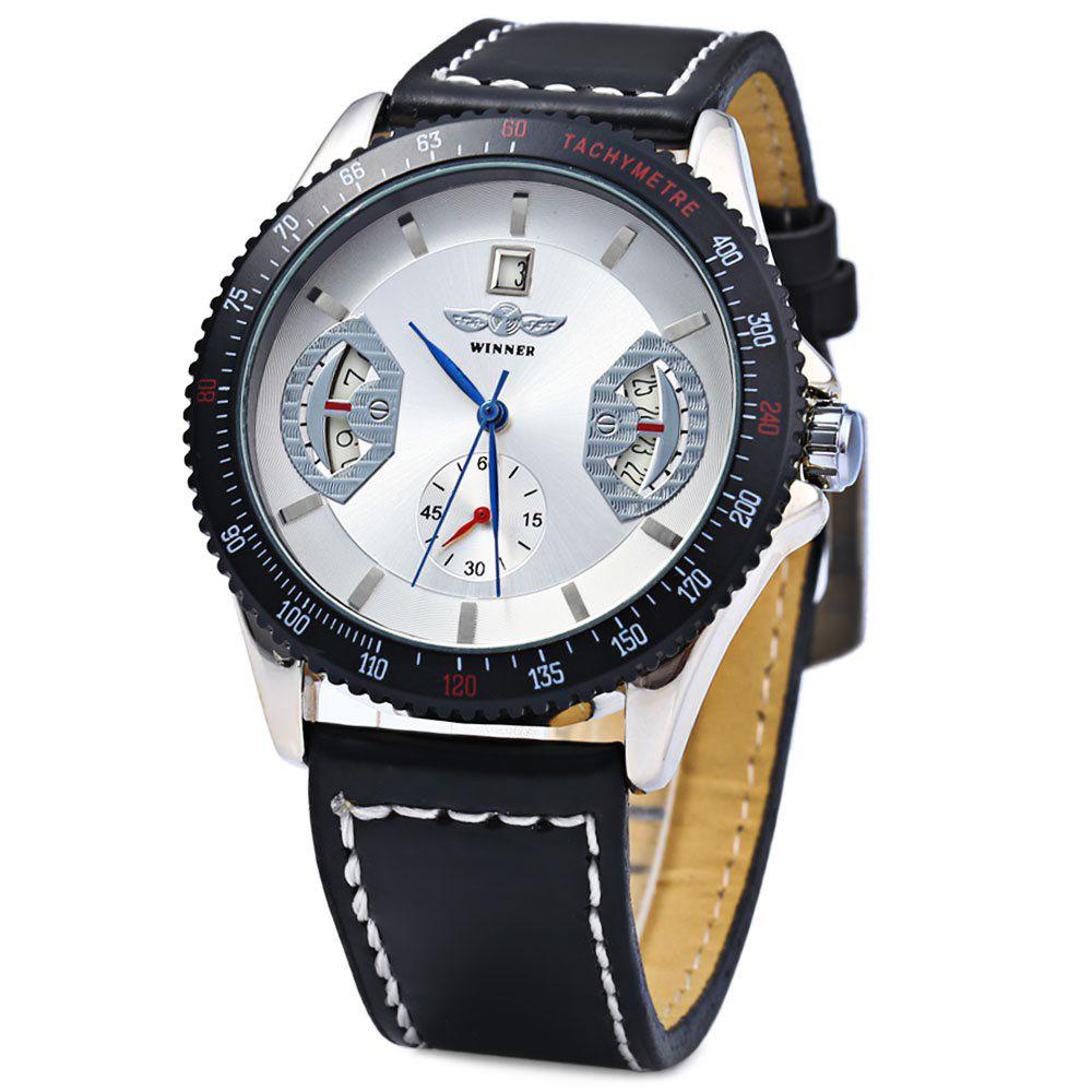 Winner Mechanical Watch with Day Round Dial Leather Watchband for Men - WHITE