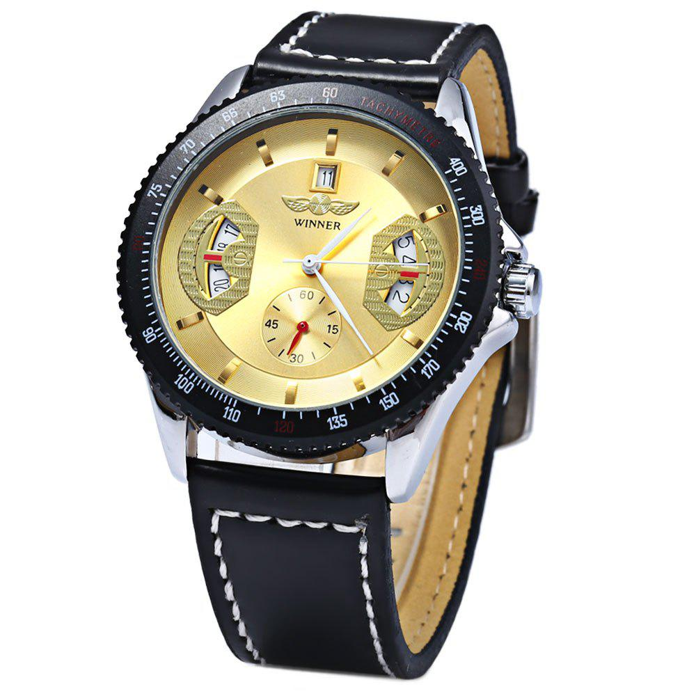 Winner Mechanical Watch with Day Round Dial Leather Watchband for Men - GOLDEN